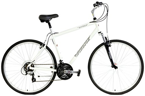 Windsor Rover 2.0 Hybrid 700c Comfort Bike 21 Speed with Suspension Fork, Flat Bars and Comfort Seat (White, 14in Ladies)