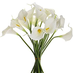 Rokou Artificial Calla Lily Bridal Wedding Bouquet 10 head Latex Real Touch Flower Bouquets 21