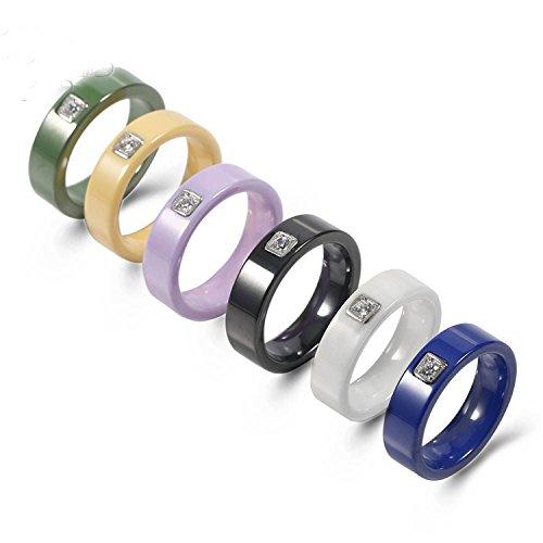 (6 Colors Simple Design Ceramic Men's Rings Silver Base Setting Cubic Zircon Ceramic Rings Exquisite Wedding Rings For Women Black)
