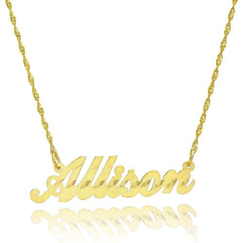 14K Yellow Gold Personalized Stardust Finish Name Necklace (16 Inches, Singapore Chain) 14k Yellow Gold Name Pendant