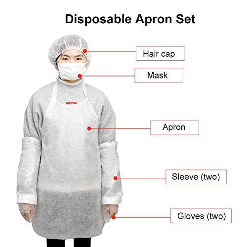 Disposable Apron Suit Set,10 Pack Adult Disposable Waterproof Dust-Proof Suit White Plastic Apron,Sleeve,Gloves,Mask,Hair Cap by cheerfullus (Image #3)