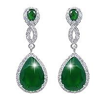 Ever Faith 925 Sterling Silver &Cubic Zicronia Crystal Infinity 8-Shape Teardrop Wedding Dangle Pierced Earrings