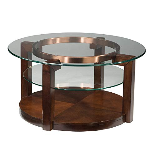 oronado Round Cocktail Table with Casters, Brown ()