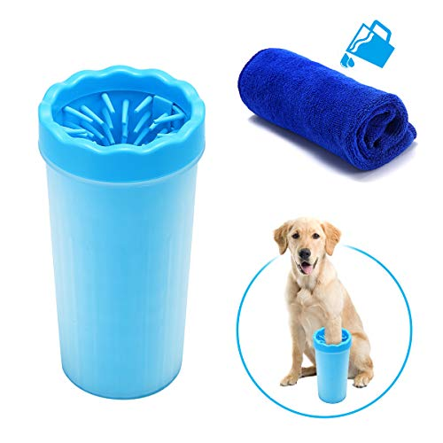 FOCUSPET Portable Dog Paw Cleaner, 9inch High XL Soft Silicone Pet Foot Washing Cleaning Brush Cup with 11.8x11.8 inch Towel by FOCUSPET