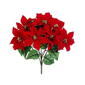 "15"" Water-Resistant Poinsettia Bush x7 Red (Pack of 12) 104"