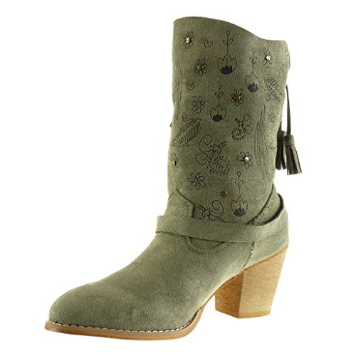 Green Thong Block High Ankle Fringe Flowers 7 Cavalier Women's cm Booty Angkorly Soft Fashion Boots Cowboy Shoes Santiags Heel OpHxUP