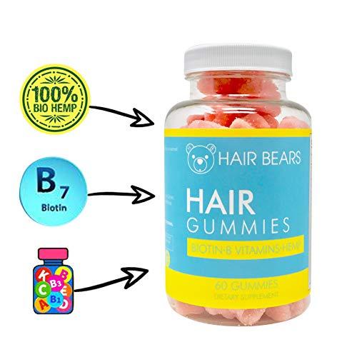Hair Skin and Nail Vitamin Gummy Bears + Hemp | for Healthy Hair Growth and Strength | Proprietary Blend of Biotin, Organic Hemp, and 15+ Vitamins! All Natural Gummies + Gluten Free + Vegan