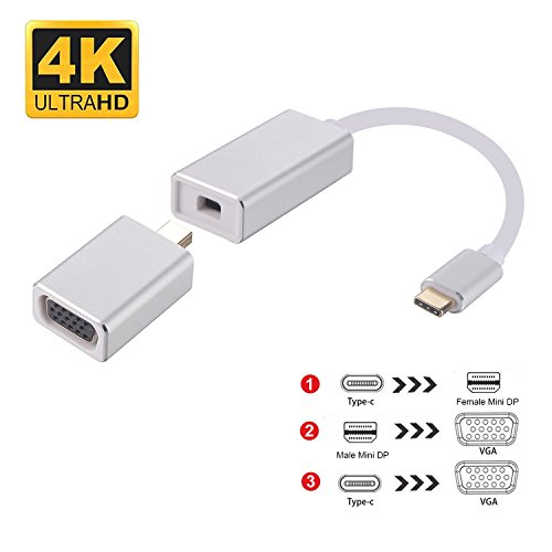 USB C to Mini DisplayPort(DP) to VGA Converter, Guamar 3-in-1 USB3.1 Type C to Mini DisplayPort 4K,Mini DisplayPort to VGA 1080P Adapter for MacBook Pro ChromeBook Samsung Galaxy S8 LG G5 by Guamar