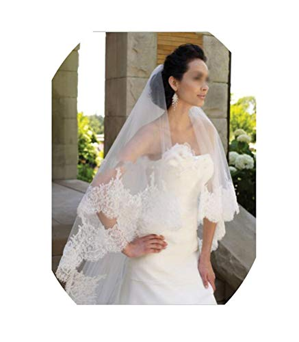 (tthappy76 Long Bridal Veil With Lace Highest Quality Wedding Veil Two Tiered Lace Edge Sequin Bridal Lace Veil,White,300Cm)