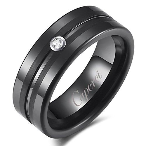 Caperci 8mm Comfort Fit Groove Cubic Zirconia Diamond Black Tungsten Men's Wedding Band Ring Size 9
