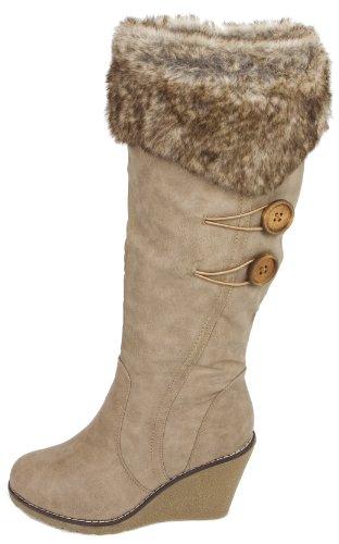Damen EU Damenwinterstiefel Mode Super Stiefel Farbe 38 Winterstiefel Fellstiefel Gefuettert Khaki 4n7wxqg6