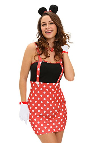 Minnie Costumes Sexy (LOBiI78lu Women's Four-piece Sexy Darling Miss Minnie Mouse Costume,black,(US)