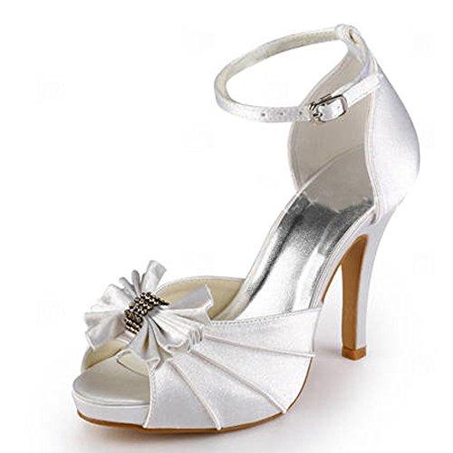 ElegantPark EP11050-IP Mujer Satén Peep Toe Sandalias Arcos Plataforma Tacón De Aguja Bombas Zapatos De Novia Ivoire