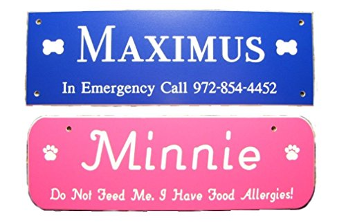 FREE ENGRAVING Dog Name Plate Crate Tag Customize OnLine