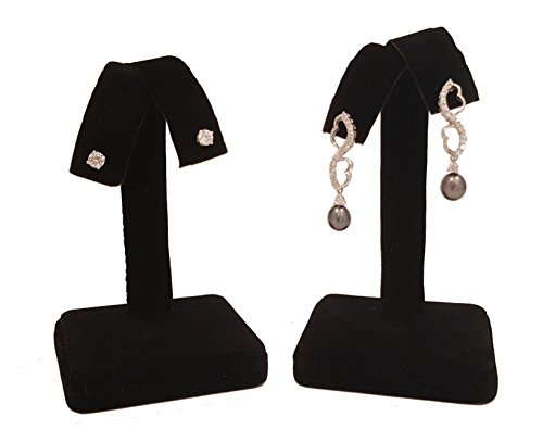 2 Pieces - Black Velvet Earring Tree Display 4.25H Fan-Out Jewelry Holder Stand