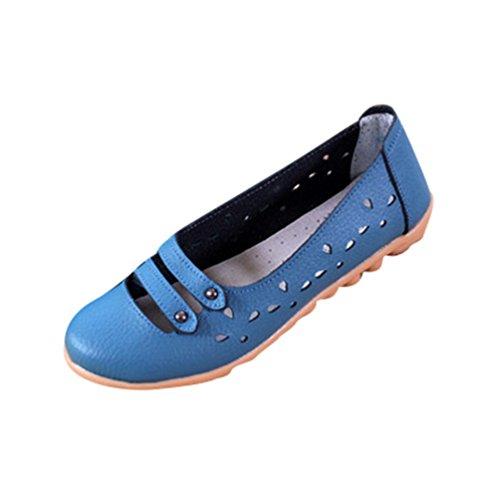YAANCUN Mujeres Cuero Flats Casual De Plana Zapatos De Los Zapatos Del Barco Zapatos De La Enfermera Como la imagen 2