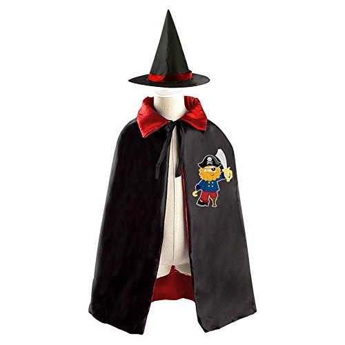 One-eyed Pirate with Knife Halloween Witch Cape Cloak Kids Cosplay Costume Hat (Asda Halloween Fancy Dress For Adults)