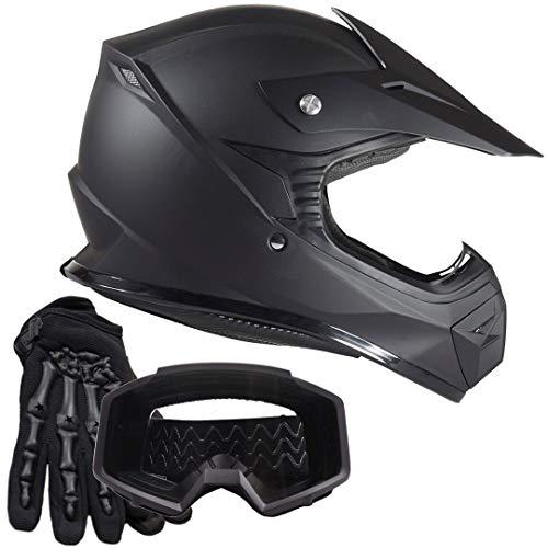 - Youth Kids Offroad Helmet Gloves Goggles GEAR COMBO Motocross ATV Dirt Bike Motorcycle Matte Black L Large