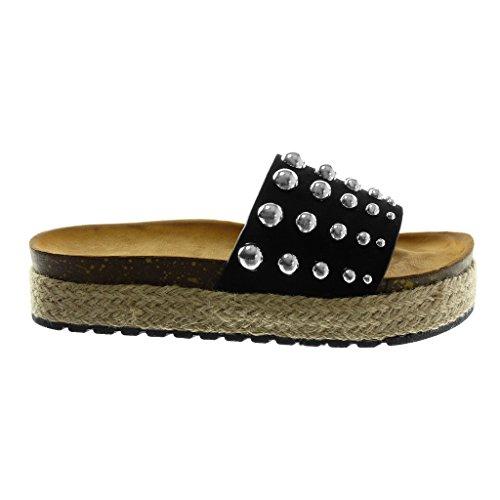Mule clouté Noir compensé Femme Plateforme on Slip Perle Talon CM Chaussure Mode Corde 4 Sandale Plateforme Angkorly tx8gqF
