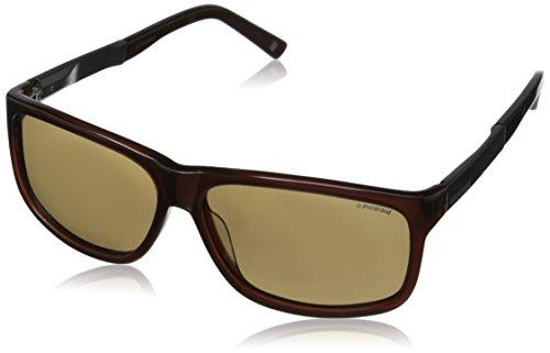 Polaroid Sunglasses Men's X8416S Polarized Rectangular Sunglasses, Crystal Brown & Brown, 59 mm/13 mm/140 - 59 Polaroid