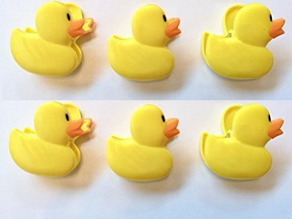 6 Yellow Duckie Duck Chip Clips. Spring Loader Bag Sealer by Collective Bargain (Image #2)