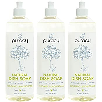 Puracy Natural Dish Soap, Organic Lemongrass, Sulfate-Free Liquid Detergent, 16 Ounce (3-Pack)...