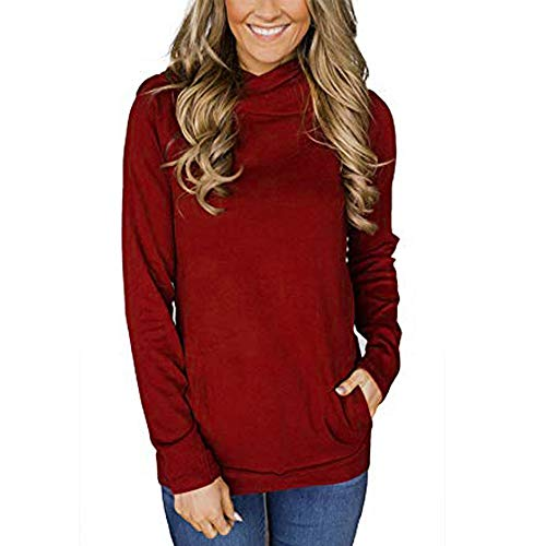 Womens Tops,Kulywon Women Oblique Zipper Drawstring Pure Color Hooded Caps Sweatshirt Pullover Tops(M/US 8,Red)