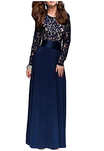 Dress Maxi Dark Elegant Out Women s Comfy Lace Blue Long Hollow Sleeve Party n4xavx8H
