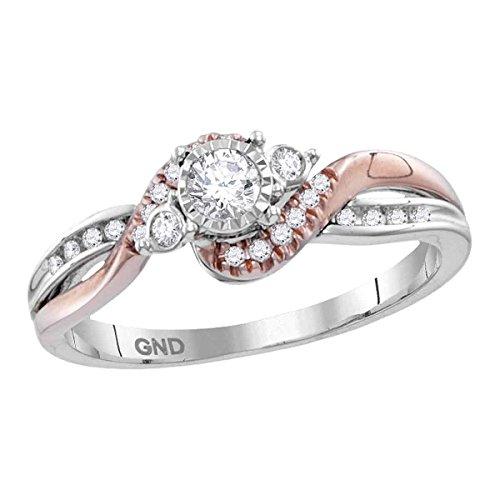 Round Diamond Engagement Ring 14k Rose White Gold Bridal Band Curve Style Polished Two Tone 1/4 ctw