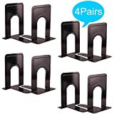 """Metal Bookends, Universal Nonskid Heavy Duty Book Ends Support,Book Stopper for School/Office/Home/Library-7.5""""×5""""×4.7""""-(4 Pairs / 8 Piece)"""