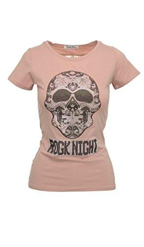 Tailliertes Kurzarm-Shirt mit Glamour-Skull und Vintage-Effekten in altrosa