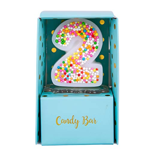 ILIKEPAR Sweety Colorful Candy Number Cake Topper Candle Brithday Party Baby Shower Wedding Party Supplies Favor (Two) -