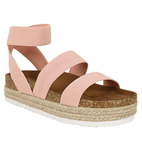 (Syktkmx Womens Elastic Strappy Platform Sandals Cork Wedge Espadrille Sandals)