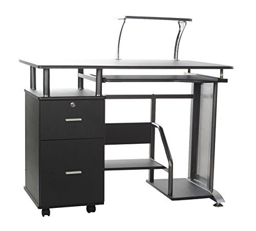 Comfort Products Rothmin Computer Desk with Storage Cabinet (Small Compact Computer Cabinet)
