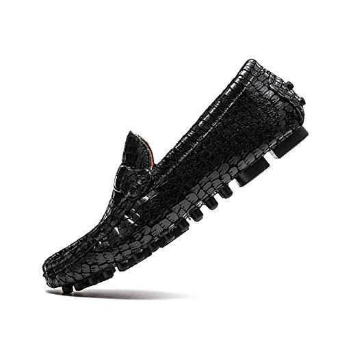 46 Mocasines y Casual de Hombres Primavera Verano Hombre Ons Driving tamaño Confort Trend Cuero Transpirable Color de Negro de Negro Slip Zapatos Shoes Guisantes Zapatos qnO0wg7vxq
