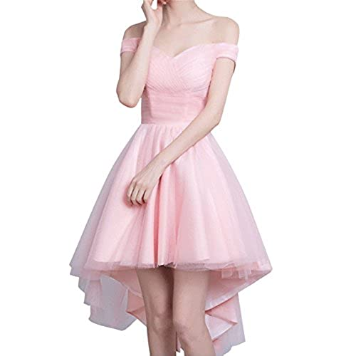 Bess Bridal Womens High Low Off Shoulder Lace up Prom Homecoming Dress US10 Pink