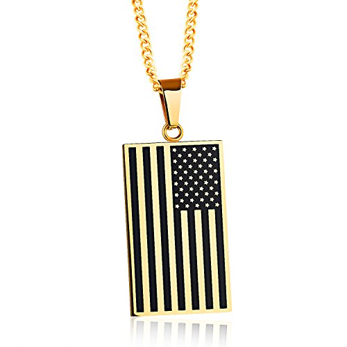 Gold American Flag Charm (LBFEEL Stainless Steel American Style USA Flag Dog Tag Pendant Necklace for Men in Gold and Silver 2 Colors (Gold))