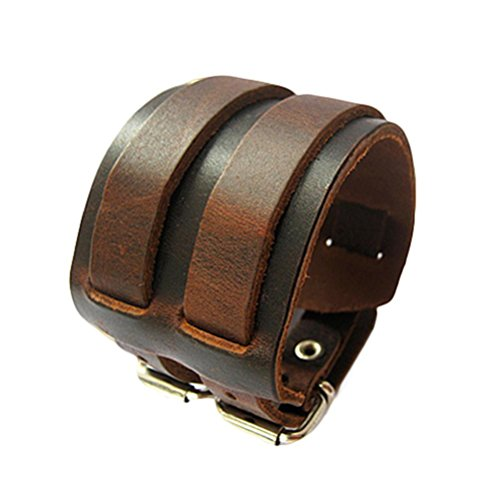 Band Leather Belt Buckle - SANWOOD Men Vintage 2 Layer Wide Belt Faux Leather Bracelet Wristband Cuff Bangle Punk jewelry (Brown)