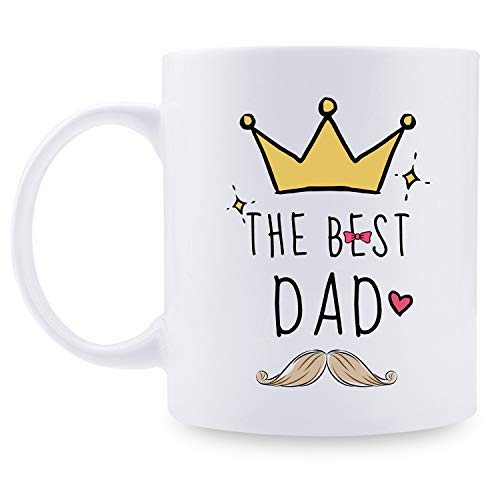 Best Dad Coffee Mug Tea Cup- Unique King Gift For Dad From Daughter, Son - Cool Birthday Present Idea For a Father, Men, Guys - Fun Novelty Coffee Cup - 11 oz (The best Dad) (Best Birthday Presents For Guys)