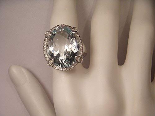 Magnificent 18K White Gold Diamond Huge Aquamarine Ring