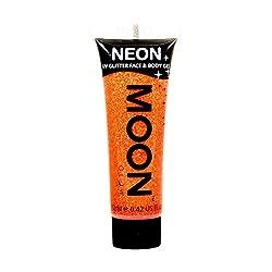 Moon Glow - Neon UV Glitter Face & Body Gel - 0.42oz Orange - Glitter Face Paint