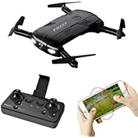 FQ777 FQ05 [Wifi FPV Drone ]with 6-Axis Gyro 2.0MP Wide-Angle HD Camera Selfie Foldable RC Quadcopter with Altitude Hold [Easy to Fly for Beginner] (black)