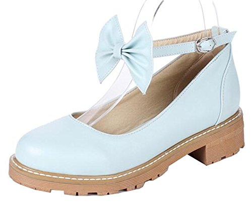 Easemax Womens Sweet Bows Low Heels Chunky Ankle Strap Pumps Shoes Blue