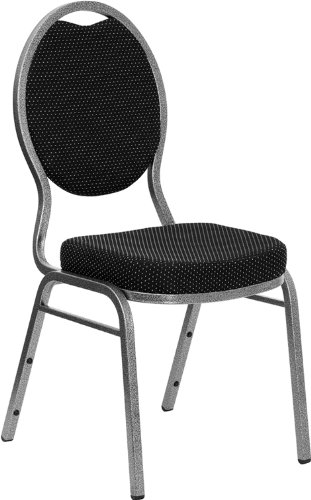 Flash Furniture HERCULES Series Teardrop Back Stacking Banquet Chair in Black Patterned Fabric - Silver Vein Frame