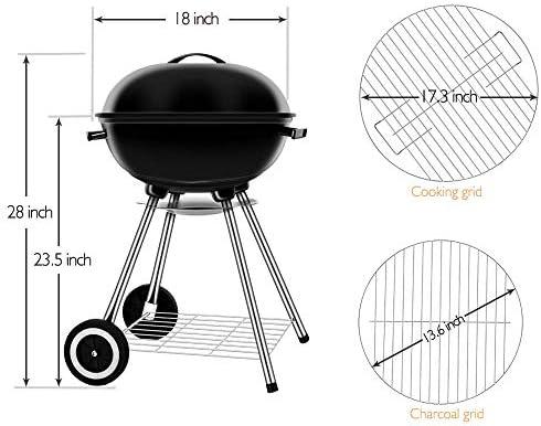 Barbecue Grill, 17 pouces en métal en plein air Brazier Firepit Portable Charcoal Grill avec roues et hayon Barbecue Grill Grill pour jardin Patio