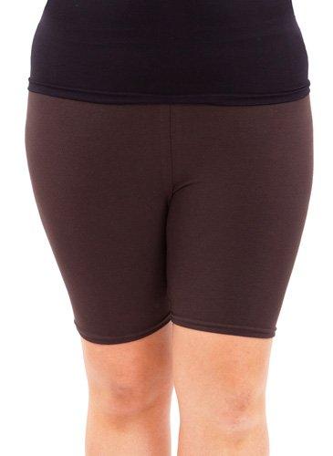 Brown Woman Plus Size Cotton Spandex Mid Thigh Shorts