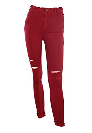 c6fa3b6a1497c Coco+Carmen Women's Burgundy Distressed Jegging (Large) at Amazon ...