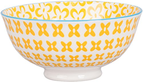 BIA Cordon Bleu Ooh La La 13-Ounce Porcelain Paisley Bowl, Set of 4, Yellow