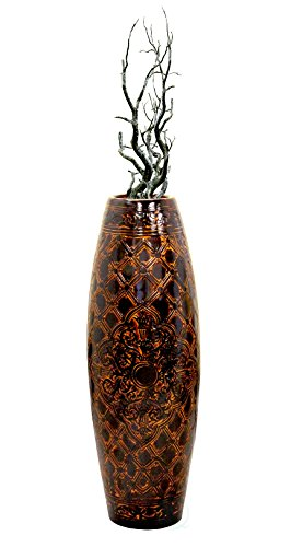 Antique Style Brown Floor Vase, 36 Inch Tall