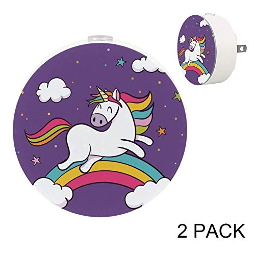 (LORVIES Unicorn Cross Rainbow Wild Animals Nature Africa Night Light Plug in Dusk to Dawn Light Sensor Auto on/Off LED Wall Light 2-Pack)